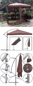 9 ft Offset Patio Umbrella with Mosquito Netting Tan