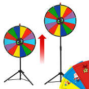 "24"" Color Dry Erase Clicker Price Wheel 15 Slot with Tripod"