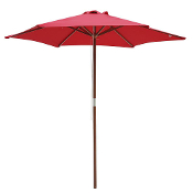 8 Foot Patio Furniture Wood Market Umbrella Red