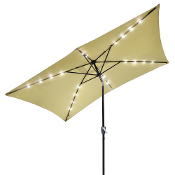 10'x6.5' Solar Aluminium Rectangle Tilt Patio Umbrella 20 LEDs B