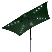 10'x6.5' Solar Aluminium Rectangle Tilt Patio Umbrella 20 LEDs G