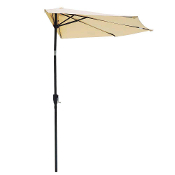 9 Foot Patio Half Umbrella Off The Wall Tilt Beige