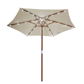8 ft Outdoor Wooden Market Patio Umbrella w/ Solar LED Lights