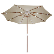 9 ft Patio Wooden Market Outdoor Umbrella w/ Solar LED Lights
