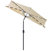 9ft 5-rib Patio Half Wall Market Umbrella Beige w/ LED Lights