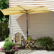 10 Foot Patio Half Umbrella Off The Wall Tilt Beige