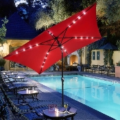 10'x6.5' Solar Aluminium Rectangle Tilt  Umbrella 20 LEDs Red