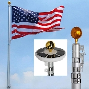 25Ft Telescopic 16 Gauge Aluminum Flag Pole with LED Solar Light